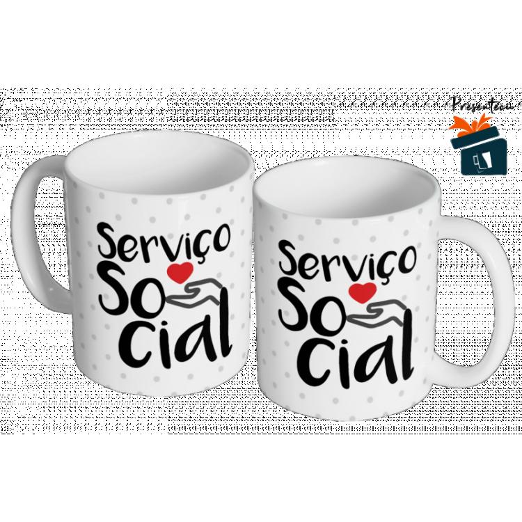 Caneca da Profissão Serviço Social - Com nome na Alça da Caneca