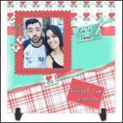 Azulejo Dia dos Namorados Personalizado com Foto e Nome - Modelo 01