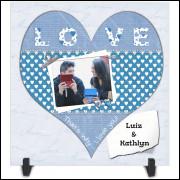 Azulejo Dia dos Namorados Personalizado com Foto e Nome - Modelo 05