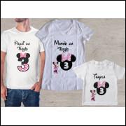 Camiseta Personalizada Minnie - 3 unidades Branca