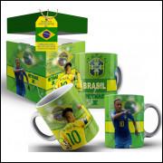 Caneca Brasil Craque Neymar + Caixinha Decorada
