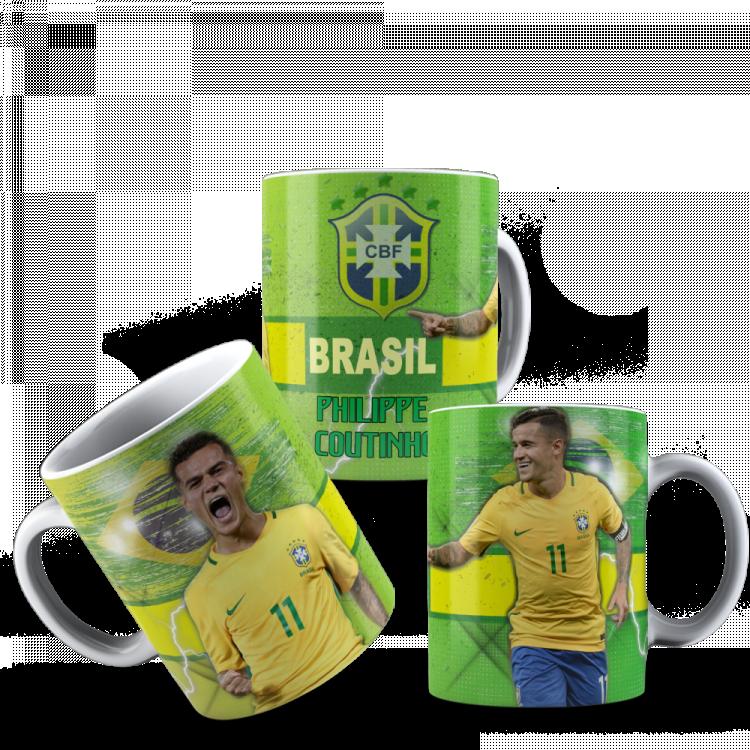 Caneca Brasil Craque Philippe Coutinho + Caixinha Decorada