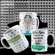 Caneca Profissões - Profissão Médico em Cerâmica Alto Brilho 325ml