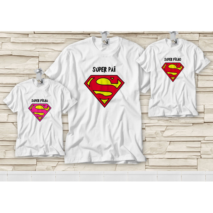 Dupla de Camiseta Dia dos Pais - Tal Pai, Tal Filho(a) - Super Pai, Super Filho(a)