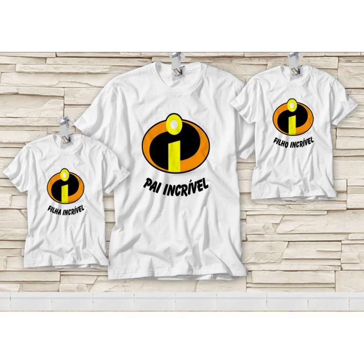 Dupla de Camiseta Dia dos Pais - Tal Pai, Tal Filho(a) - Pai Incrível, Filho9a) Incrível