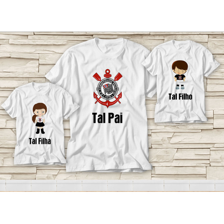 Dupla de Camiseta Dia dos Pais - Tal Pai, Tal Filho(a) Corinthians
