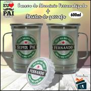 Kit Caneca Dia dos Pais em Aluminio + Abridor de Garrafa - Heineken Super Pai