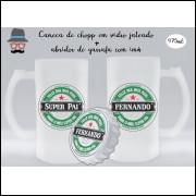 Kit Caneca de Chopp Dia dos Pais + Abridor de Garrafa Heineken Super Pai