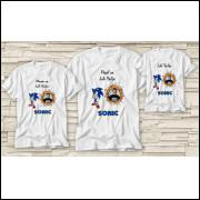 Kit Três Camisetas Personalizada Personagem Sonic
