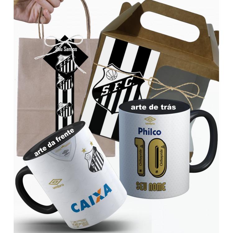Caneca Camisa Santos 2018 Nº1 Personalizada com Nome e Embalagem