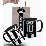 Caneca Botafogo 2018 nº1 Personalizada com Nome Nº e Embalagem Presenteável