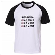 Babylook Feminina Respeita as Minas - Preta e Branca