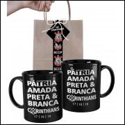 Caneca CorinthiansTri Campeão Pátria Amada Corinthians com Embalagem Presenteável