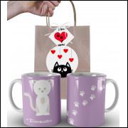Caneca de Gato I Love Cats com Embalagem Presenteável