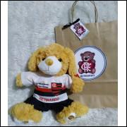 Ursinho de Pelúcia Flamengo - Cãozinho Personalizado com Nome e Número e Embalagem Presenteável