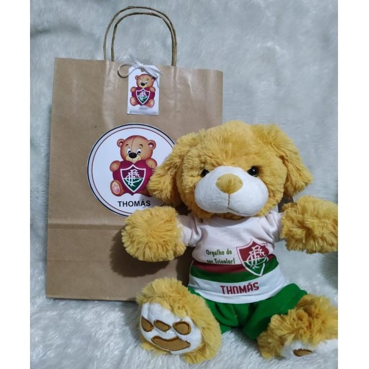 Ursinho de Pelúcia Fluminense - Cãozinho Personalizado com Nome e Número e Embalagem Presenteável