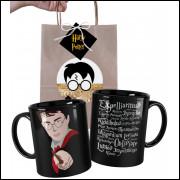 Caneca Harry Potter Saga em Cerâmica Preta e Embalagem Presenteável