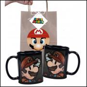 Caneca Game Super Mario Bros em Ceramica Preta e Embalagem Presenteável