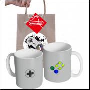 Caneca Game Controle Super Nintendo em Cerâmica e Embalagem Presenteável