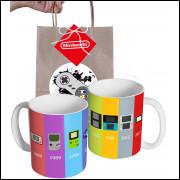 Caneca Game Evolução dos Controle Super Nintendo com Embalagem Presenteável