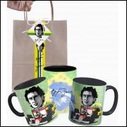 Caneca do Ayrton Senna em Cerâmica com Embalagem Presenteável
