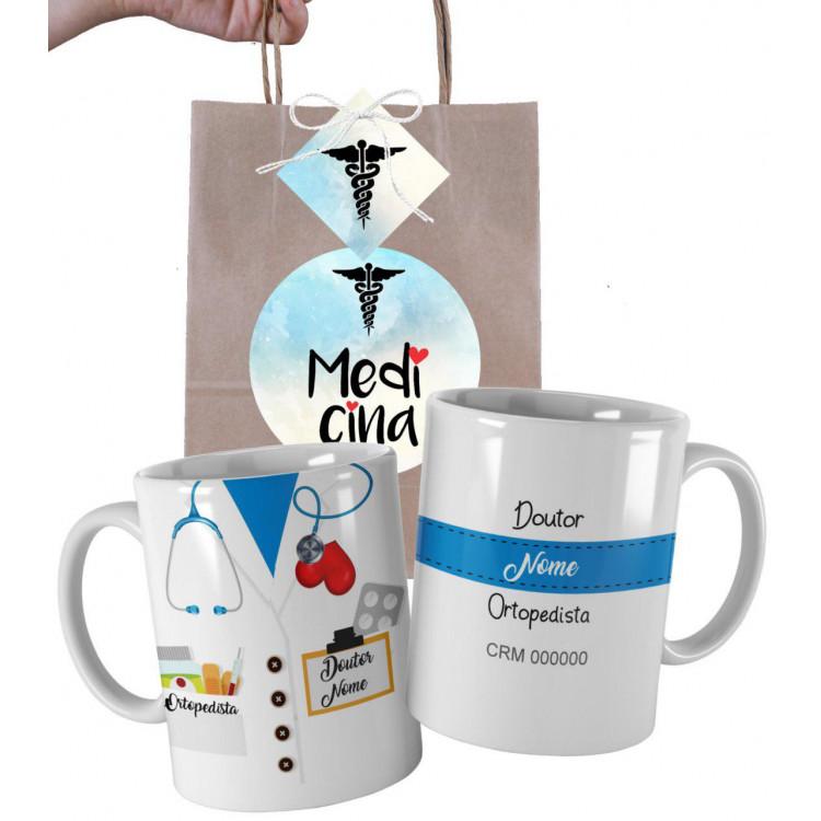 Caneca Profissões Profissão Medicina para Médico personalizada com Nome e Embalagem