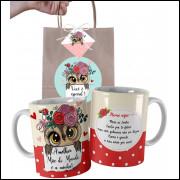 Caneca Coruja  Para Mãe Personalizada com Nome e Embalagem Presenteável