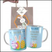 Caneca de Páscoa Romântica Personalizada com Nome e Embalagem Presenteável