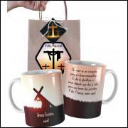 Caneca de Páscoa Evangélica Personalizada com Nome e Embalagem Presenteável