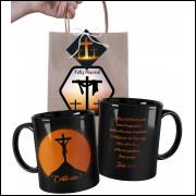 Caneca de Páscoa Evangélica Toda Preta e Embalagem Presenteável