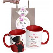 Caneca Dia das Mães para Super Mãe Personalizada com Nome e Embalagem Presenteável