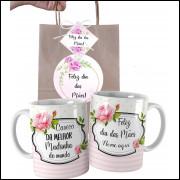 Caneca Dia das Mães para Madrinha Personalizada com Nome e Embalagem Presenteável