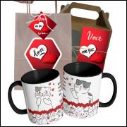 Caneca Namorados Gatos in Love com Nome do Casal e Embalagem