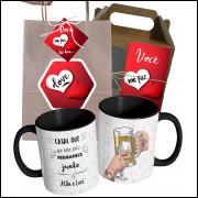 Caneca Namorados Casal que Bebe Junto Com Nome do Casal e Embalagem