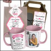 Caneca Para Mãe A Melhor Mãe com Nome, Uma foto e Embalagem Presenteável