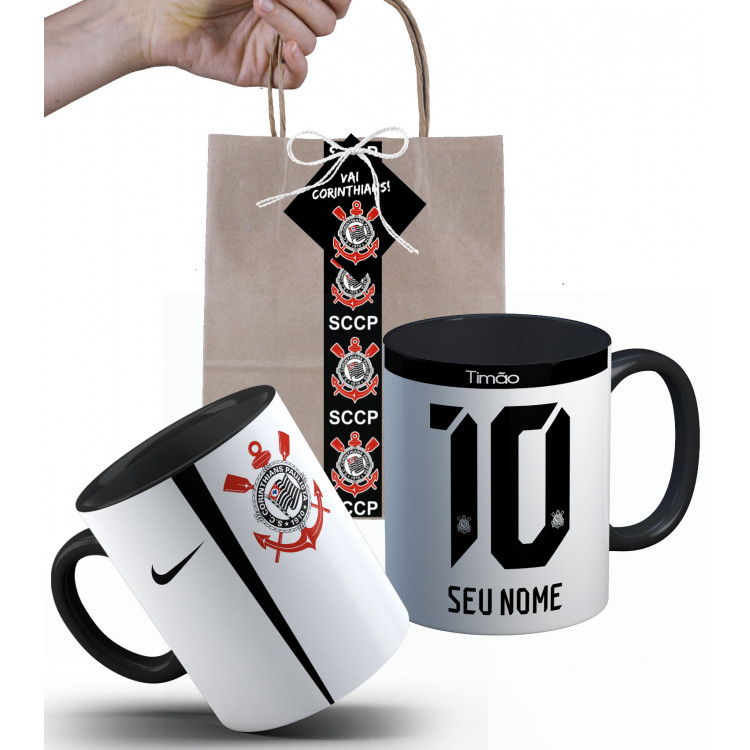 Caneca Corinthians Fé Alvinegra 2017 Nº1 com Nome e Embalagem Presenteável