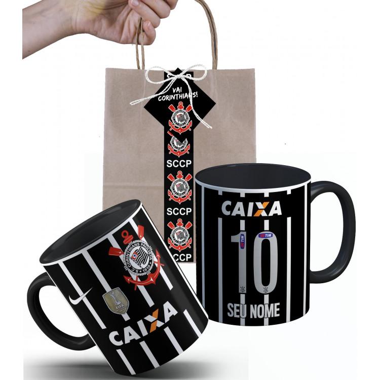 Caneca Corinthians Recopa 2013 personalizada com Nome e Embalagem Presenteável