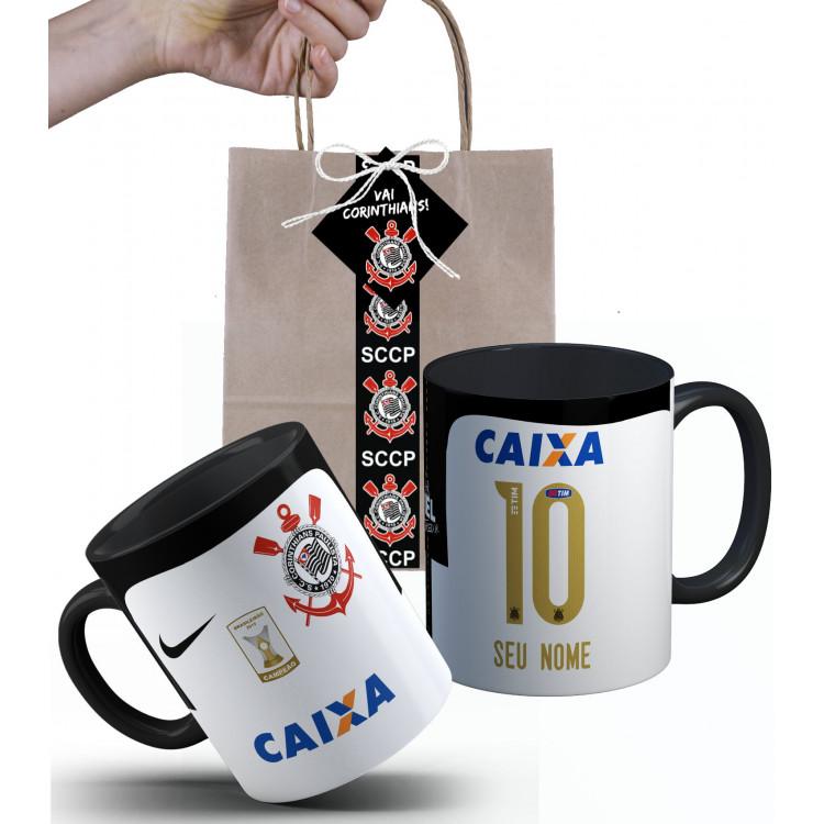 Caneca Corinthians Hexa Campeão 2015 Personalizada com Nome e Embalagem