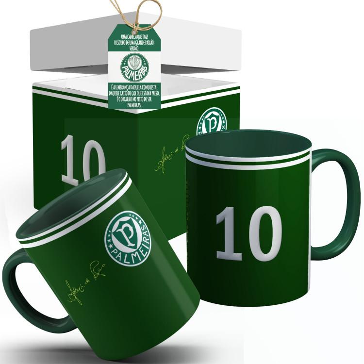 Caneca Palmeiras  Camisa Ademir da Guia 1972 Com Seu Nome + Caixinha Personalizada