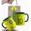Caneca Brasil da Seleção Brasileira 2017 Nº1 Personalizada Com Nome e Nº e Embalagem