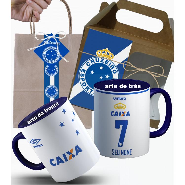 Caneca Cruzeiro 2017 Nº2 Personalizada com Nome e Nº e Embalagem