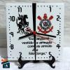 Relógio de Mesa - Corinthians Fé Alvinegra/São Jorge - em Azulejo 20x20