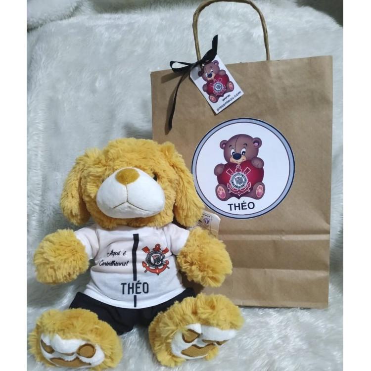 Ursinho de Pelúcia Corinthians - Cãozinho Personalizado com Nome e Número e Embalagem Presenteável