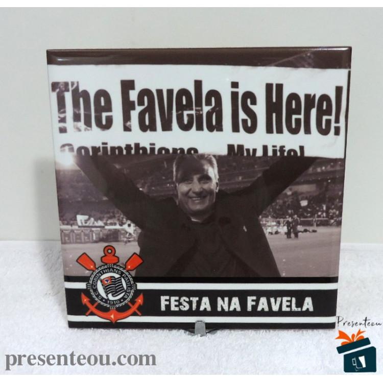 Quadro Corinthians A Favela é Aqui - em Azulejo 20x20