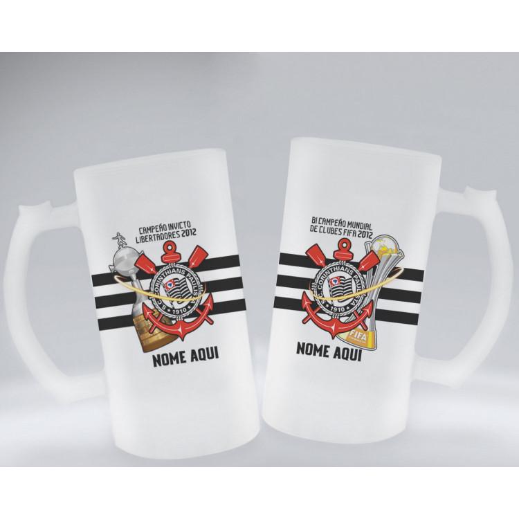 Caneca de Chopp Corinthians Taças 2012 em Vidro Fosco e Embalagem Presenteável