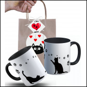Caneca Gato Preto Patinhas com Embalagem Presenteável