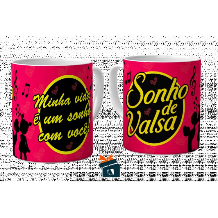Caneca Romântica Chocolate Sonho de Valsa - Porcelana 325ml