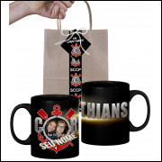 Caneca Corinthians Personalizada com Uma Foto e Nome - Preta e Embalagem Presenteável