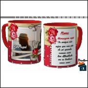 Caneca com Foto Feminina - Duas fotos, nome e mensagem - Vermelha