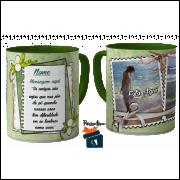 Caneca com Foto Feminina - Duas fotos, nome e mensagem - Verde